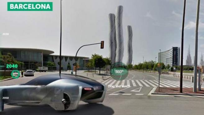 Imagen de Barcelona en el año 2050, según la herramienta Earth 2050.