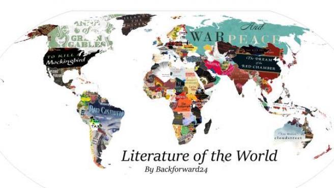 Mapamundi formado con las portadas de los libros favoritos en cada país.