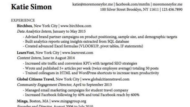Currículum de Katie Simon, que le valió para conseguir ofertas de trabajo de las mejores empresas del país