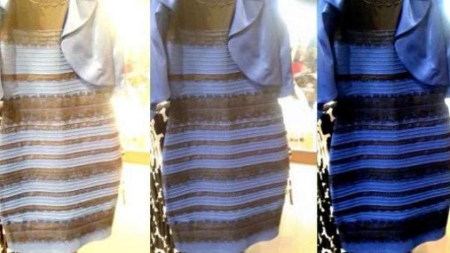 Imagen del famoso vestido viral (apodado en las redes como #TheDress) que despertó el debate sobre su color real: blanco y dorado o azul y negro.