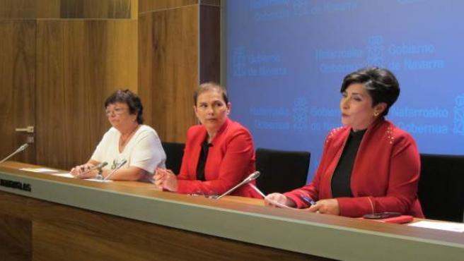 María José Beaumont, Uxue Barkos y María Solana.