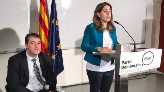 La coordinadora general del PDECAT, Marta Pascal, y David Bonvehí.