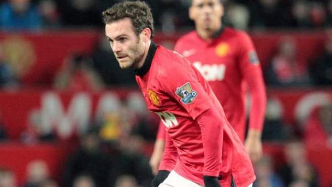Juan Mata, en su debut con el Manchester United tras fichar por los reds en el mercado invernal de la Premier League.