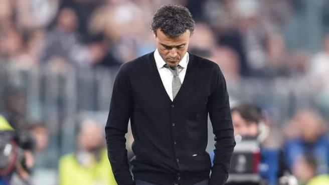El entrenador de Barcelona, Luis Enrique, durante el partido de ida de los cuartos de final de la Liga de Campeones, disputado ante el Juventus de Turín, Italia.