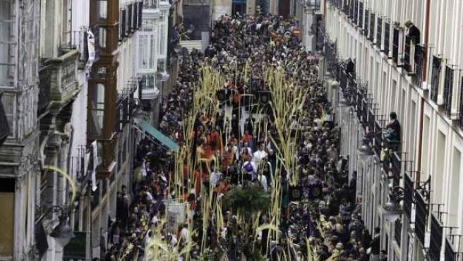 Procesión de las palmas, en la calle Platerías de Valladolid.