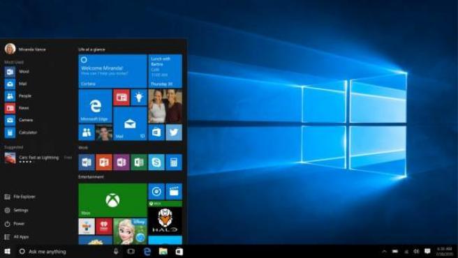 Una pantalla de un ordenador con Windows 10.