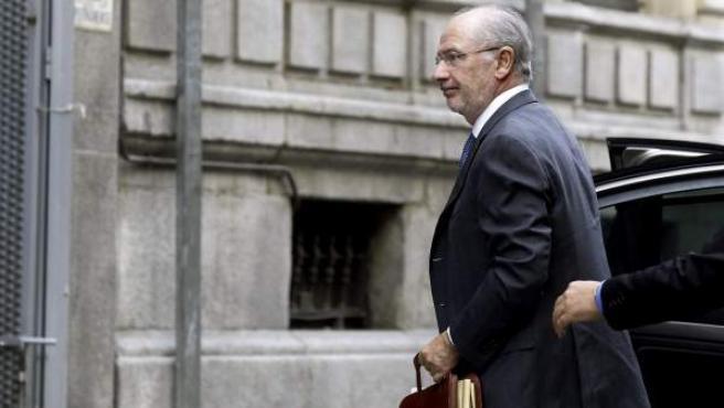El expresidente de Bankia Rodrigo Rato, a su llegada a la Audiencia Nacional