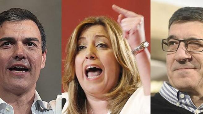Pedro Sánchez, Susana Díaz y Patxi López.