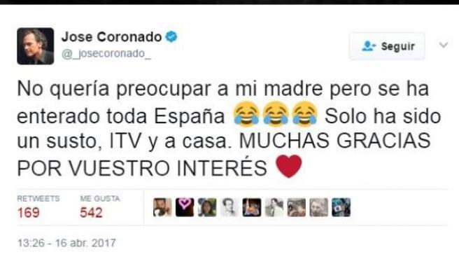 Mensaje del actor José Coronado en Twitter tras sufrir un infarto.