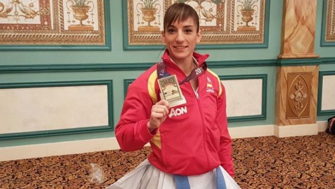 Sandra Sánchez, con el oro en las Vegas.