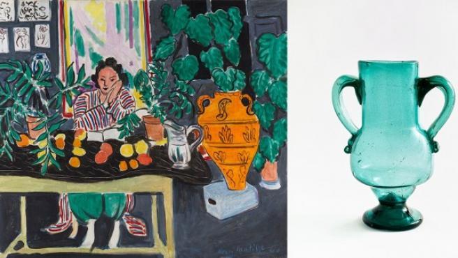 Cuadro de Matisse de 1940 y el vaso andaluz que compró en un viaje a España y que aparece en varias de sus obras