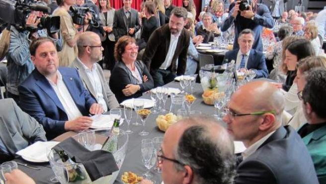 Imagen del conseller Oriol Junqueras en el almuerzo-debate Moment Zero.