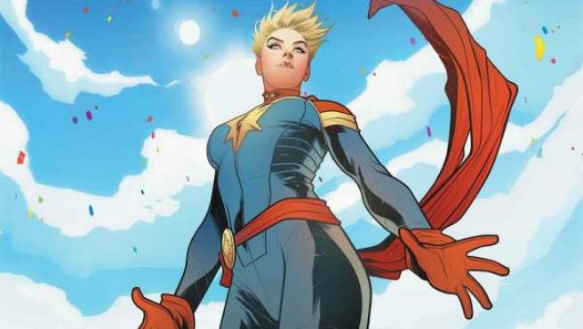 Ilustración de portada del cómic 'Mighty Captain Marvel'.