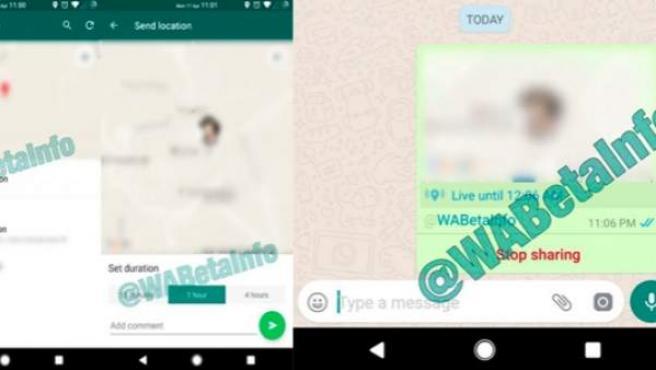 Primeras imágenes de la forma en que compartiremos nuestra localización en tiempo real a través de Whatsapp.