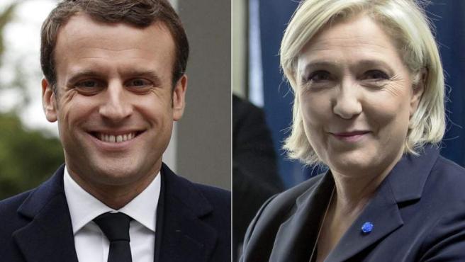 El candidato socioliberal Emmanuel Macron (i) y la ultraderechista Marine Le Pen (d).