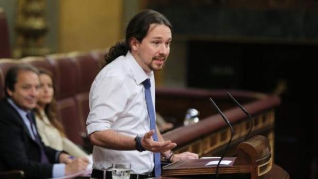 Pablo Iglesias, en la tribuna del Congreso de los Diputados.