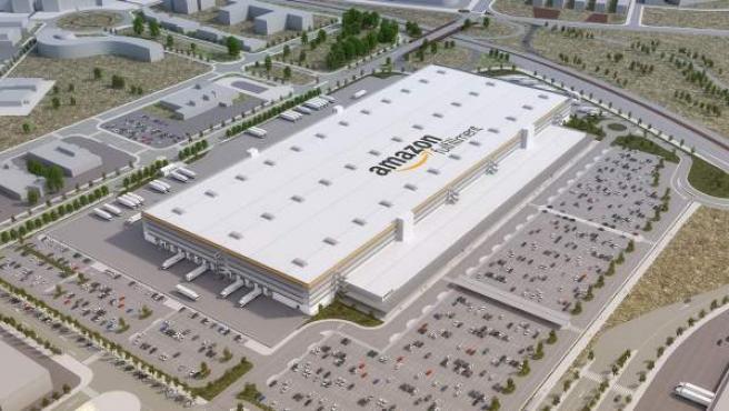 Imagen virtual del centro logístico de Amazon en El Prat de Llobregat.