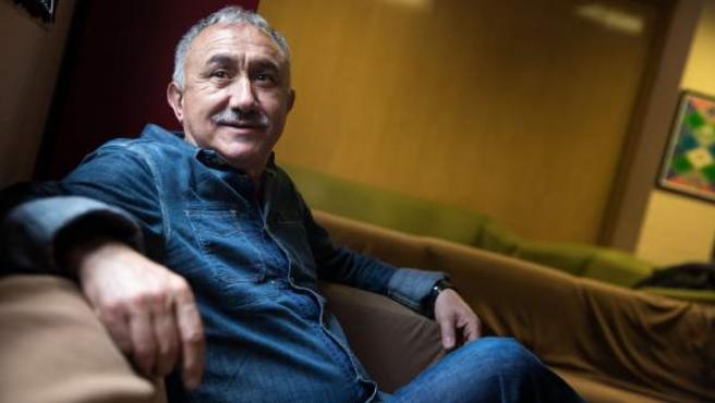 El secretario general de UGT, Pepe Álvarez, en un momento de la entrevista.