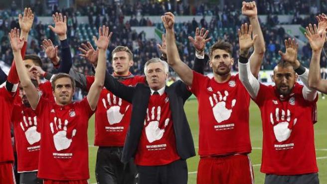 Así celebró el Bayern su quinto trofeo de Bundesliga seguido.