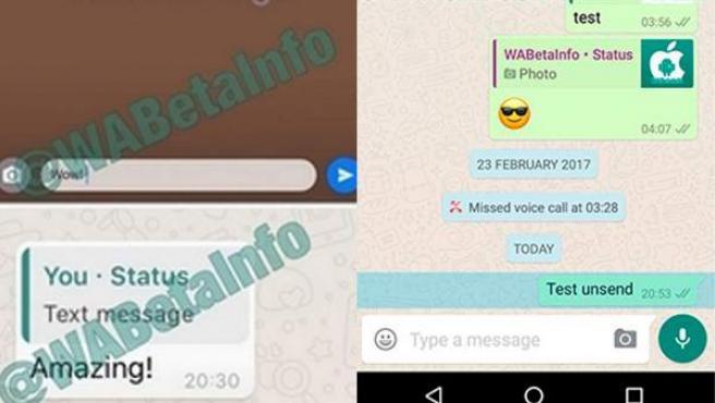 Capturas de pantalla de las pruebas sobre la cancelación de mensajes ya enviados y el texto en los nuevos estados.