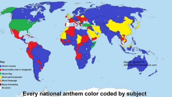 Mapa del mundo en función del tema que trata su himno nacional.
