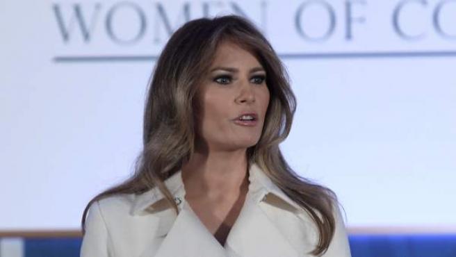 Melania Trump, durante su discurso en la gala Mujeres valientes.