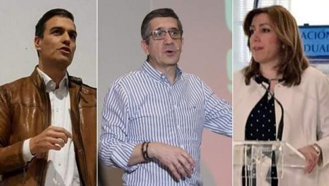 Pedro Sánchez, Patix López y Susana Díaz.