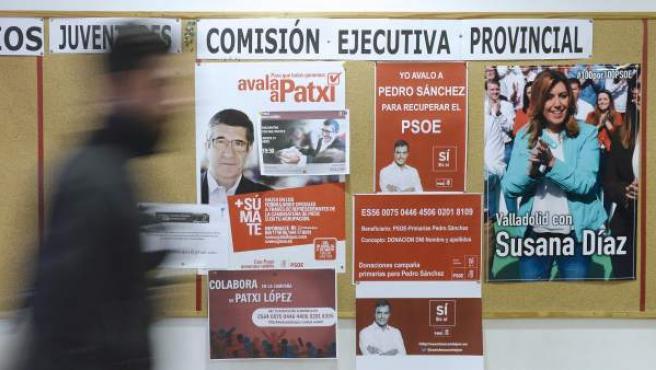 Carteles de apoyo a los tres precandidatos a la Secretaría General del PSOE colocados en la sede del PSOE de Valladolid.