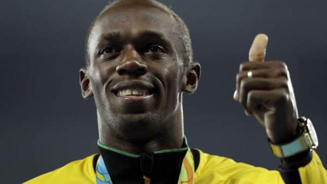 El atleta jamaicano Usain Bolt, en el podio de los pasados Juegos Olímpicos de Río 2016.