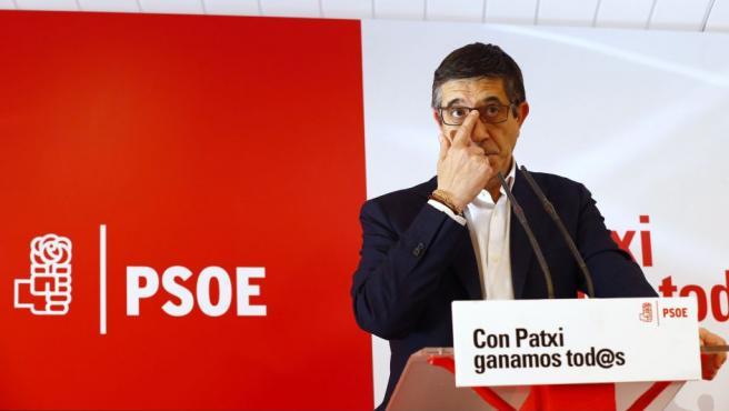 El candidato a las primarias del PSOE Patxi López en una rueda de prensa celebrada en Madrid.