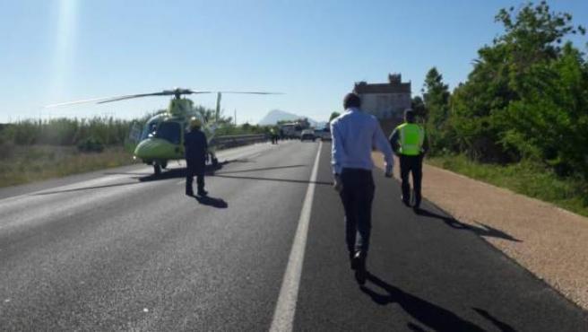 Imatge del lloc de l'accident a Oliva