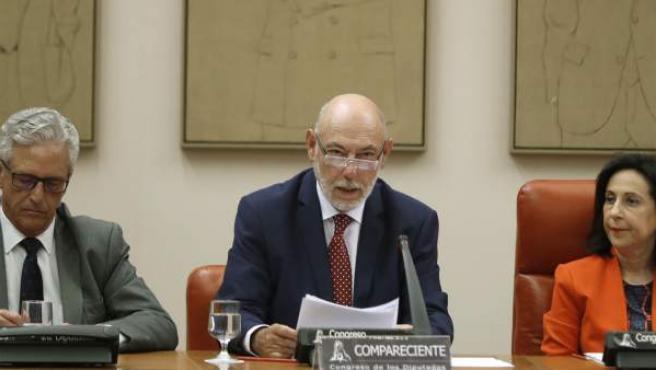 Comparecencia del fiscal general del Estado, José Manuel Maza (c), ante la comisión de Justicia del Congreso.