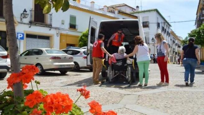 Voluntarios de Cruz Roja acompañan a mayores a visitar los Patios de Córdoba
