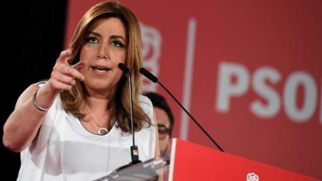 La presidenta andaluza y precandidata a las primarias del PSOE, Susana Díaz, durante un acto político Alcalá de Henares.