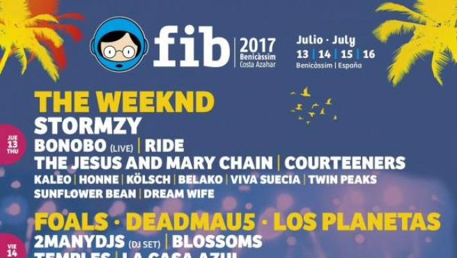 Cartel actualizado por días del Festival Internacional de Benicàssim.