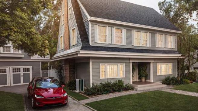 Imagen promocional los tejados solares de Tesla que han empezado a comercializar.