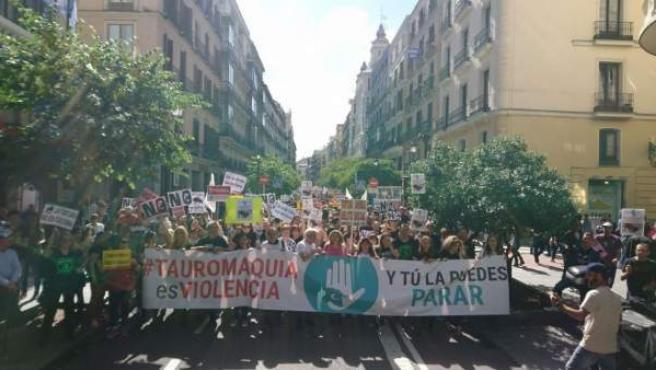 Manifestación antitaurina por las calles de Madrid.
