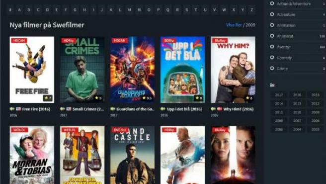 Captura de pantalla de la página de películas en 'streaming' Swefilmer.