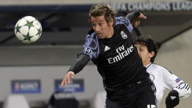 El jugador portugués del Real Madrid, Fabio Coentrao, en un partido de Champions este año.