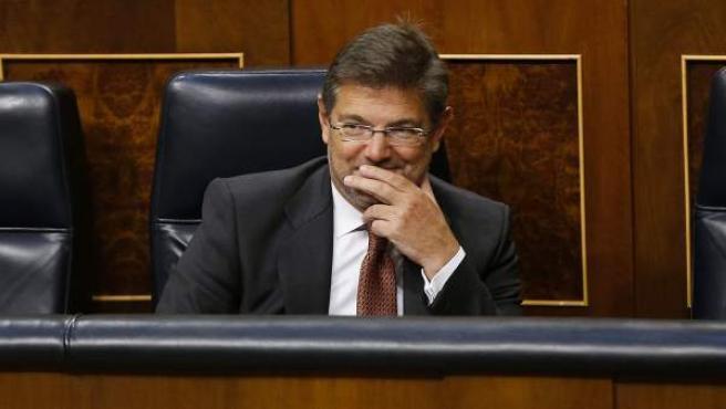 El ministro de Justicia, Rafael Catalá, durante la reprobación del Congreso.