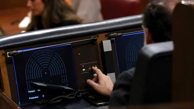 El presidente del Gobierno, Mariano Rajoy, durante la votación de las enmiendas a la totalidad del proyecto de Ley de Presupuestos Generales del Estado de 2017.