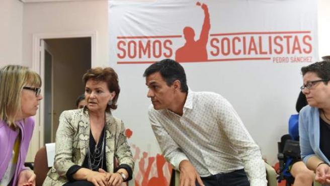 El candidato a la Secretaría General del PSOE Pedro Sánchez, durante su participación en un acto sobre la igualdad.