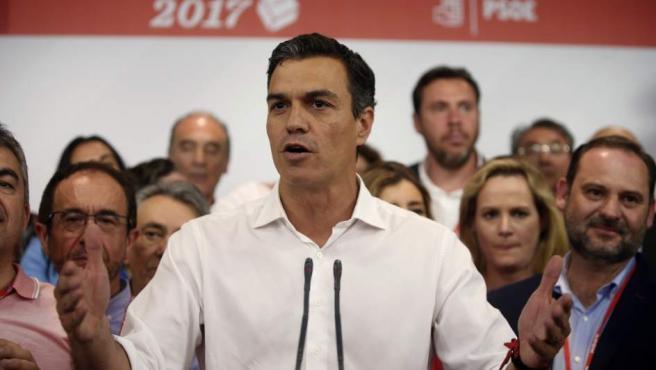 El vencedor de las primarias socialistas, Pedro Sánchez.