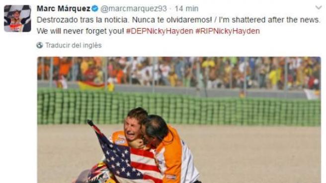 Mensaje de condolencias de Marc Márquez en Twitter tras la muerte de Nicky Hayden.