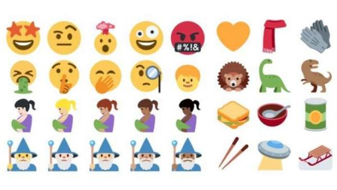 Algunos de los 239 nuevos emojis de Twitter.