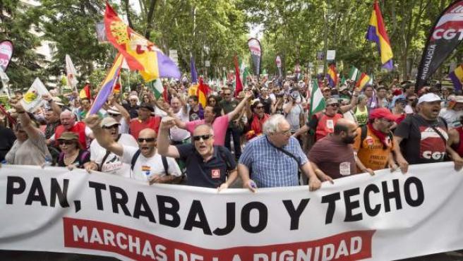 Manifestación que las Marchas de la Dignidad, que aglutinan a cuatro columnas procedentes de distintas partes de España, llevan a cabo hoy por las calles de Madrid, en su lucha contra la precariedad laboral, el paro y la degradación de la educación y sanidad.