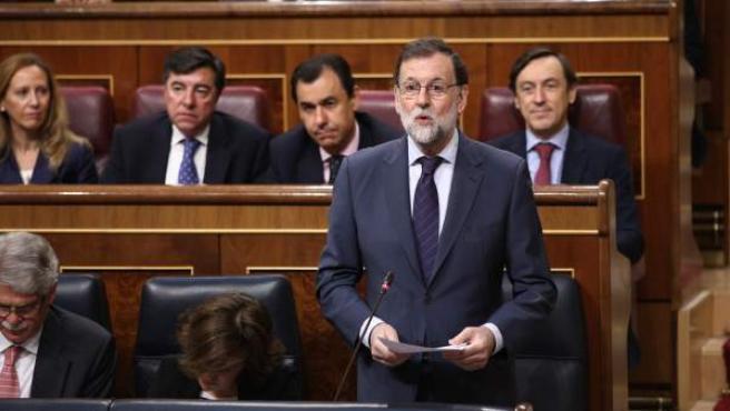 El presidente del Gobierno, Mariano Rajoy, en la sesión de control al Ejecutivo en el Congreso.