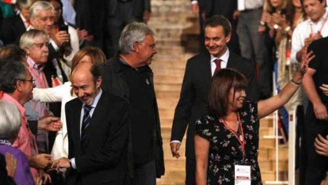 Felipe González, Zapatero y Rubalcaba, juntos en una Conferencia Política del PSOE.