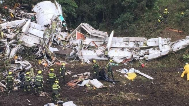 El avión estrellado del Chapecoense.