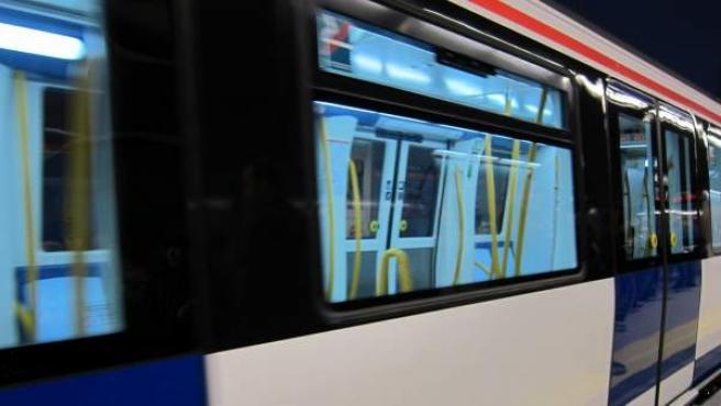 Un vagón vacío de Metro de Madrid.